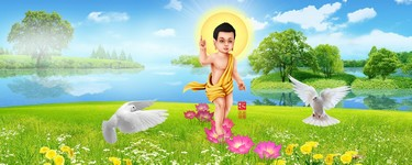 Phat Dan Vesak Buddha Baby Painting Landscsape Nature Background Blank