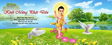 Phat Dan Vesak Buddha Baby Painting Landscsape Nature Background